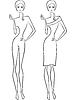 Abstrakt schlanke Frauen zwei Konturen