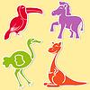 Toucan, pony, Strauß und Känguruh