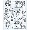 Unterhaltende Sonne und Kinder Figuren in lustige Szenen