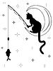 Schwarze Katze sitzt auf Mond und fängt Fische