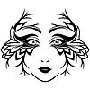Streszczenie czarno-białych kobiet twarz z maską | Stock Vector Graphics