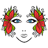 Streszczenie twarz kobiety z akcesoriami kwiatu | Stock Vector Graphics
