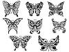 Satz von acht schwarze Schmetterlinge