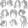 Vektor Cliparts: Frisuren für Frauen