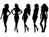 Vektor Cliparts: Set von fünf weiblichen Silhouetten