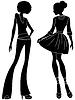 Векторный клипарт: Абстрактные привлекательные дамы силуэты
