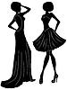 Векторный клипарт: Абстрактные очаровательные дамы силуэты
