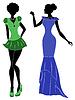 Damen in kurzen und langen Kleidern