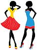 Fashion-Modelle in kurzen modernen Kleider