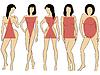 Векторный клипарт: Набор женщин цифры пять типов с условной