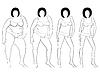 Векторный клипарт: Четыре этапа женского похудение, контуры