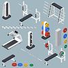 Sportowe akcesoria do centrum fitness izometryczny | Stock Vector Graphics