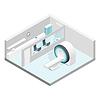 Gabinet MRI izometryczny zestaw pokój | Stock Vector Graphics