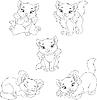 Векторный клипарт: Котенок окраски страницы