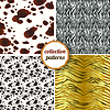 Set von nahtlosen Mustern von Tigerfellen, Zebras,