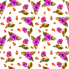 Seamless pattern watercolor bouquet Flowers on white | 光栅插图