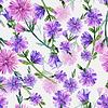 Seamless pattern watercolor bouquet Flowers | 光栅插图
