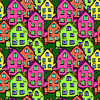 Seamless pattern town house | 向量插图