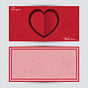 Karte mit roten Herzen und Liebessymbol