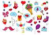 Kolorowe szkic z obiektów miłości ręcznie rysunek | Stock Vector Graphics