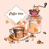 Tło z szkic strony rysunku czas kawy | Stock Vector Graphics