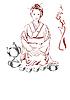Japanische Frau und Tee