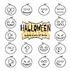 Halloween-Kürbisse Satz von linearen