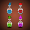 Set bottles with different potions | Stock Vector Graphics