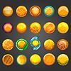 Векторный клипарт: Большой набор круглой кнопки оранжевый