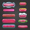 Векторный клипарт: Набор розовой кнопки для дизайна игры