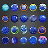 Векторный клипарт: Большой набор круглых синей кнопки