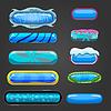 Векторный клипарт: Набор синей кнопки для дизайна игры