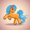 Векторный клипарт: Симпатичный мультяшный маленькая лошадка