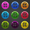 Vektor Cliparts: Set aus bunten Knopfverschluss