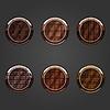 Vektor Cliparts: Set von runden, konkaven Tasten Schokolade