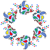 Colorful cute floral frame or ornament, | 向量插图