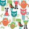 추상 사랑스러운 괴물 원활한 패턴 | Stock Vector Graphics