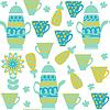 Векторный клипарт: Симпатичные чай бесшовные модели с посудой и бесшовные