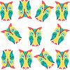 Векторный клипарт: Симпатичные смешные совы бесшовные модели и бесшовные