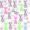 Векторный клипарт: Красочные кошек бесшовные модели и бесшовные