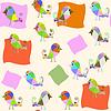 Векторный клипарт: Фантазия птицы бесшовные модели и бесшовные