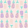 Векторный клипарт: Симпатичный нежный ананас бесшовные модели и