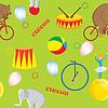 Векторный клипарт: Бесшовные узор на тему циркового медведя на красном