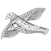 Vektor Cliparts: Kritzeleien fliegende Vögel,