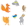 Векторный клипарт: Набор милый мультяшный животных,