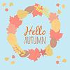 Векторный клипарт: Осень круглая рамка. венок в декоративном стиле
