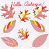 Векторный клипарт: Осенние листья с красочными украшениями и