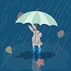 Векторный клипарт: Card Банни в резиновых сапогах в дождь с зонтиком,