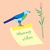 Vektor Cliparts: Herzliche Grüße, hand Schriftzug auf Papier blättern,