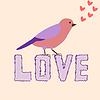 Vektor Cliparts: Plakat Liebe mit schönen dekorativen Vogel